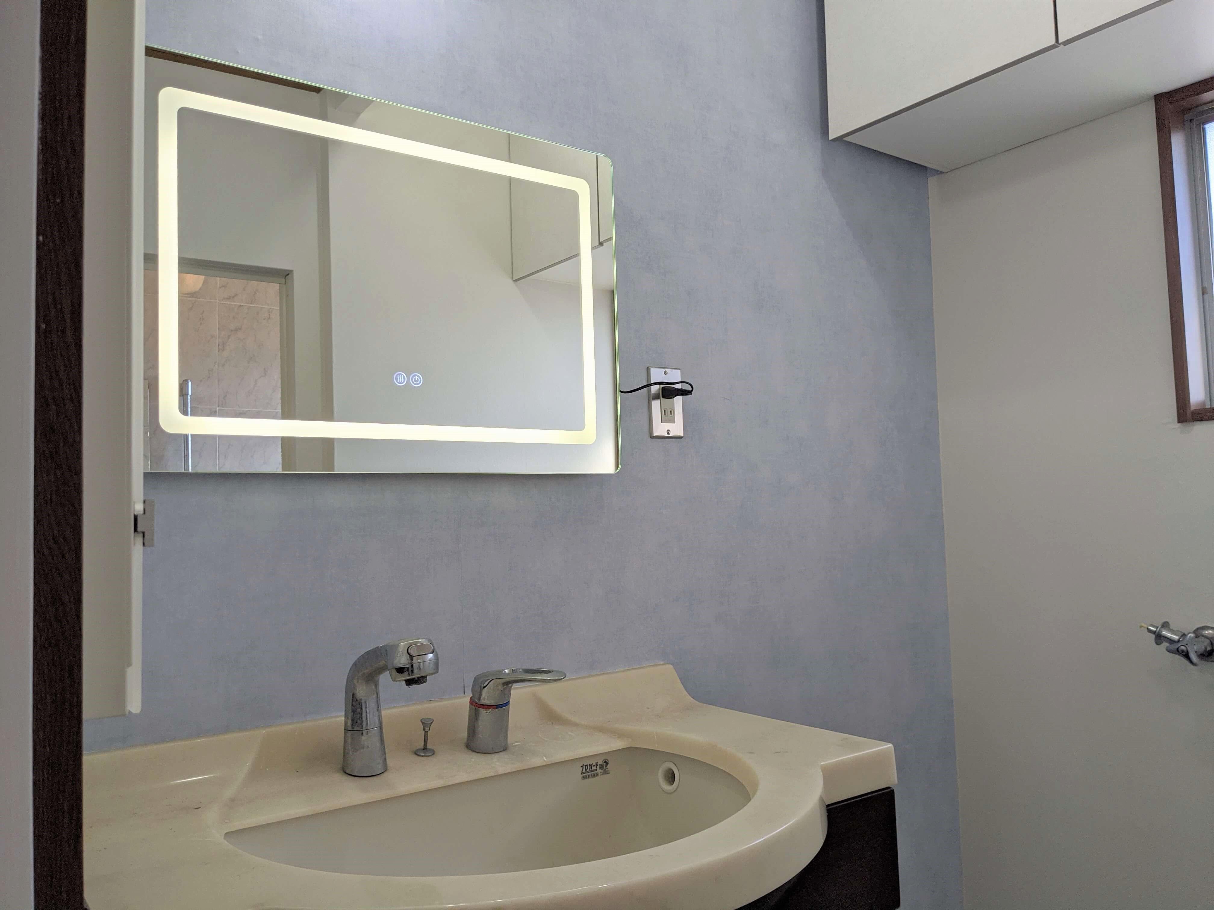 まるでホテル Ledミラーと海外壁紙を使って洗面所をセルフリフォーム 最終回 Diy Magazine